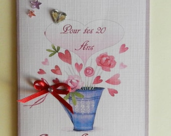 Greeting card. Birthday card, shabby romantic, handmade