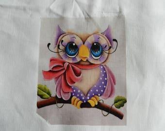 Adorable transfer: OWL on linen/cotton fabric
