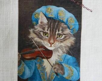 transfer 147.   textile transfer: ORIGINAL cat with violin