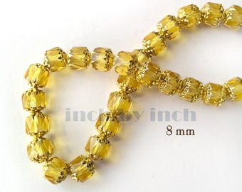 Cathedral Czech faceted Glass beads, Translucent yellow, 8mm. 25 pcs.