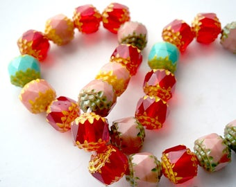 Cathedral Czech faceted Glass beads, multicolor, red, pink, turquoise, 8mm. 25 pcs.