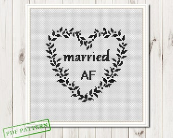 Wedding cross stitch pattern bride and groom just married | Etsy