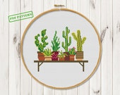Cross Stitch Cactus pattern Succulent Hoop art xstitch chart cross stitch flowers pattern Сross Stitch Modern pattern pdf download Wall art