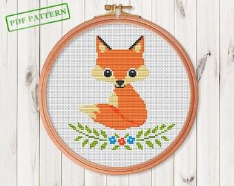 Fox Cross Stitch Pattern Woodland Animal Forest Animals Autumn Design PDF
