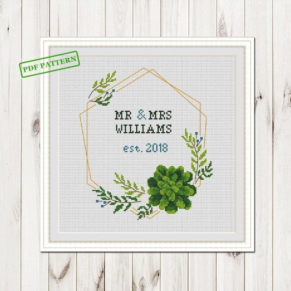 Wedding Custom Cross Stitch Pattern For Couple Mr Mrs Etsy