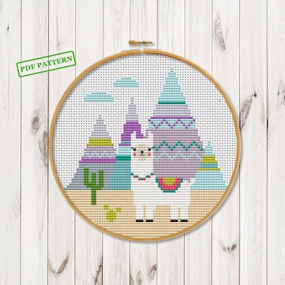 Llama Cross Stitch Modern Pattern Funny Cross Stitch Cute Etsy Amazing Funny Cross Stitch Patterns Free