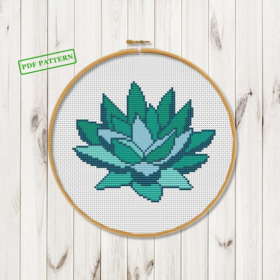 Modern cross stitch Succulent pattern cross stitch Floral Easy Beginner  cross stitch Cactus cross stitch Xstitch chart PDF Pattern Download