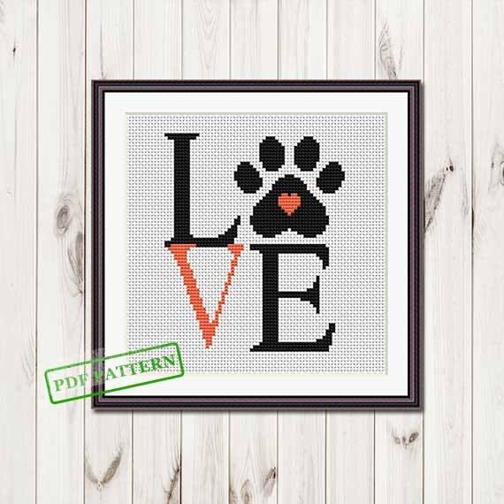 Love paw cross stitch pattern Easy cross stitch pattern Beginner Modern  cross stitch Animals xstitch pattern pdf download puppy paw