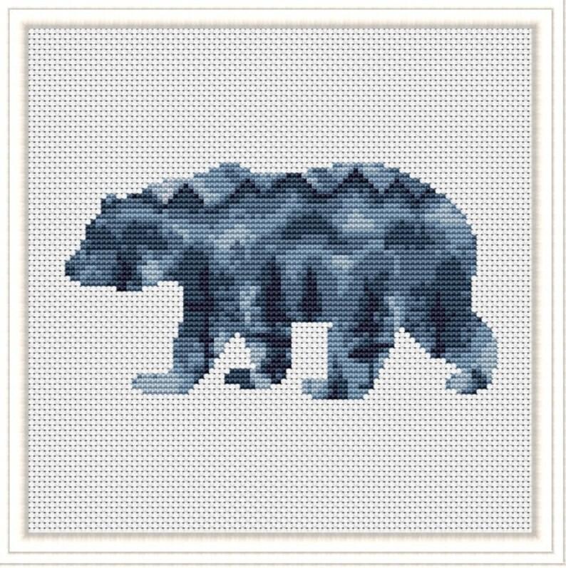 Woodland Animals Cross Stitch Modern Pattern Watercolor Animals Forest Friends Bear Deer Fox Wolf pdf pattern download