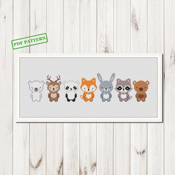 Animals Cross Stitch Cute pattern Boho FunnyBear Fox  Deer Bear Sloth modern Xstitch Animals baby nursery  PDF Pattern download