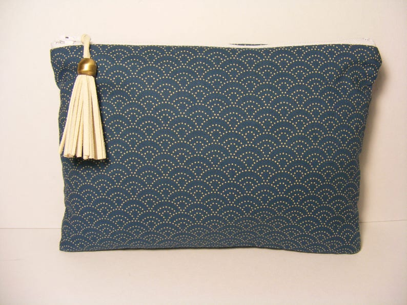 Japanese make-up pouch in oil blue wave pattern handcrafted image 0