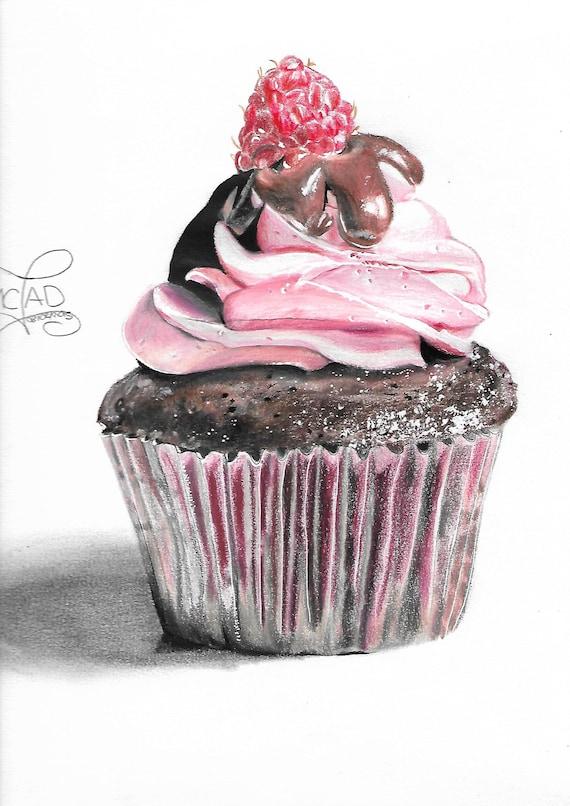 Dessin Cupcake Framboise Chocolat Etsy