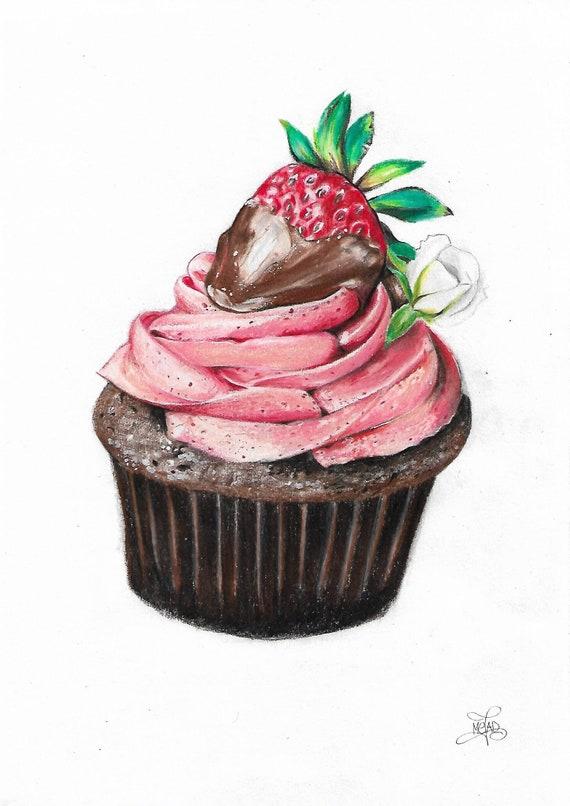 Dessin Cupcake Choco Fraise Etsy
