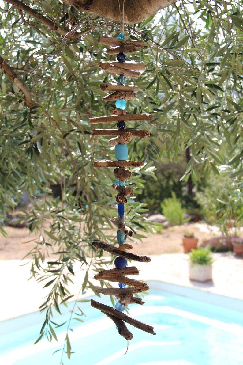Deco Terrasse Bois Flotté guirlande de bois flotté avec perles, déco bois flotté, bois flotté perles,  mobile bois flotté, déco jardin, suspension bois flotté