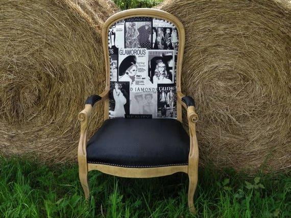 fauteuil voltaire r nov ann es 30 d coration int rieur etsy. Black Bedroom Furniture Sets. Home Design Ideas