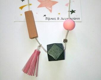 Necklace style scandinavce gift MOM, Dad, friends, friends, boyfriend, girlfriend, Grandma, teacher wooden bead