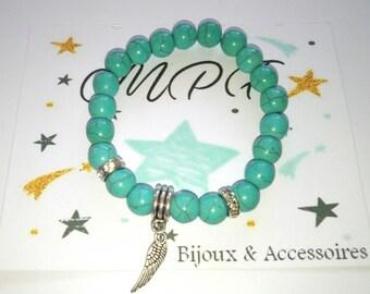 Turquoise bracelet with silver idea feather gift MOM, Dad, friends, friends, boyfriend, girlfriend, Grandma, teacher