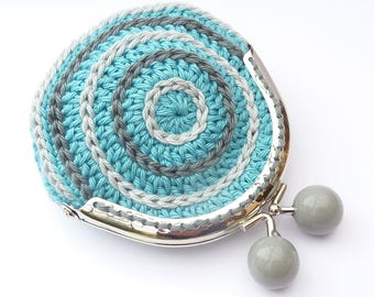 Purse crocheted Turquoise and gray Metal clasp