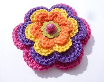 "Crocheted multicolored ""Bollywood"" flower brooch"