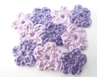 Mini purple flowers and purple crocheted 100% cotton-set of 10