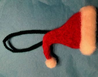 Santa Hat Ornament - Needle Felted