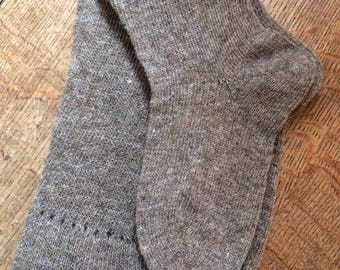 Pure natural wool hand cranked knee high socks for re-enactment wear