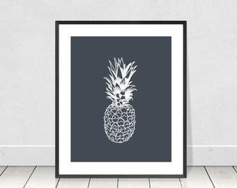 Pineapple Print, Pineapple Wall Art, Pop Art, Printable Art, Pineapple Poster, Pineapple Decor, Tropical Decor, Kitchen Wall Art, Dorm Decor