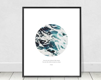 Rumi Quote Print, Poetry Print, Drop in the Ocean,Poetry Wall Art,Printable Quote,Quote Print,Ocean Quote,Literary Print,Inspirational Quote