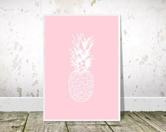 Pineapple Print, Pineapple Wall Art, Pop Art, Printable Art, Pineapple Poster, Pink Print, Pineapple Decor, Tropical Decor, Kitchen Wall Art