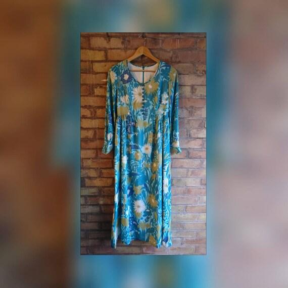 Floral maxi, 70s maxi dress, flower power, long sl