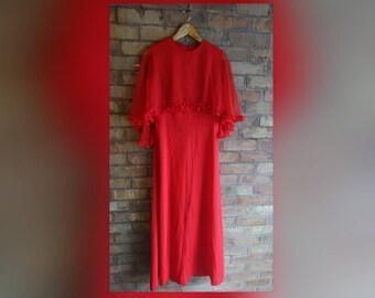 Vintage red cape dress