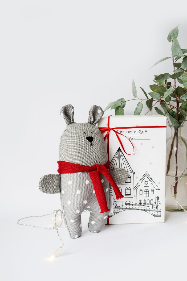 Minimal toy Baby gift Nursery gift Soft toy Bear Polka Dots Bear Toy Christmas kids toy Grey Christmas Bear Winter stuffed Teddy Bear