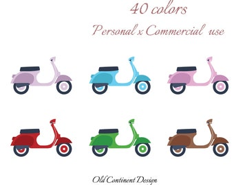 PRINTABLE, Scooter clipart, Scooter planner stickers clip art, Scooter sign, Retro Scooter design, Commercal use, CL-123