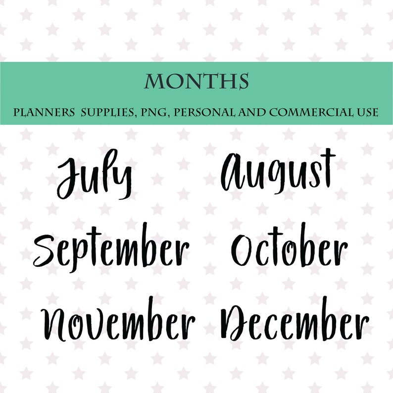 Printable stickers Bullet Journals Planners Months Planner clip arts Scripts names of months font
