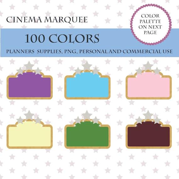 100 Colors Clip Art Cinema Marquee Clipart