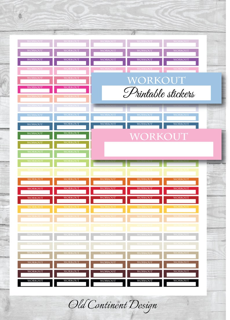 photo about Printable Workout Planner named PRINTABLE, Exercise session planner stickers, Exercise printable stickers, Exercise routine stickers, Health club sticker, Video game sticker, Exercise routine tracker, ST-066