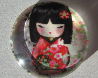 Glass cabochon round 20 mm with the image of Chinese girl gray red