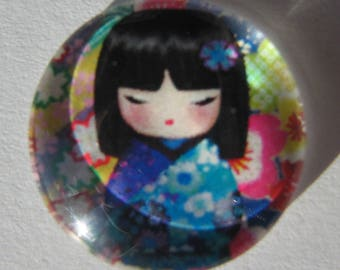 Glass cabochon round 20 mm with the image of Chinese girl coral pink and blue