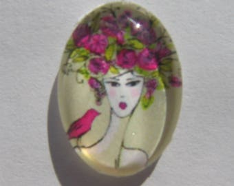 Oval glass cabochon 13 X 18 mm image of woman with bird