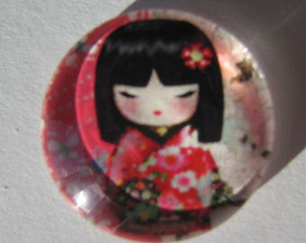 Glass cabochon round 20 mm with the image of Chinese girl coral pink