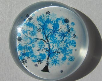 Cabochon 30 mm round with a blue tree image