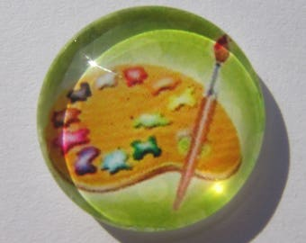 Glass cabochon round 20 mm with a picture of painting