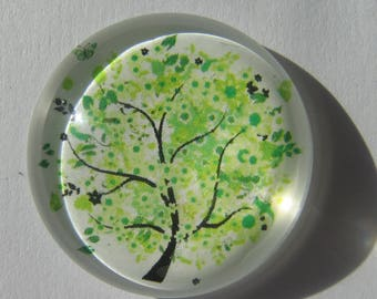 large cabochon 30 mm round with its light green tree image