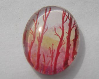 Cabochon 18 X 13 mm oval with a picture of autumn trees