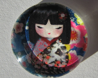 Blue glass cabochon round 20 mm with the image of Chinese girl in pink
