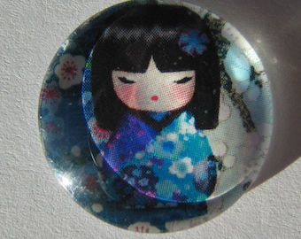 Blue glass cabochon round 20 mm with a Chinese girl image