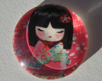 Glass cabochon round 20 mm with the image of Chinese girl coral