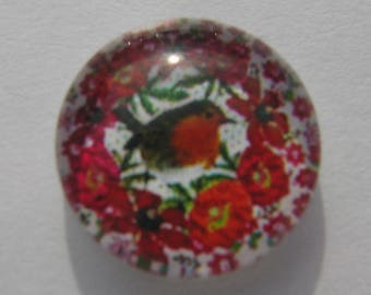 Cabochon 14 mm round domed with a multicolored bird image
