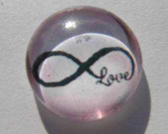 Love infinity sign cabochon 14 mm pink