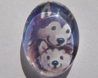 Cabochon 18 X 13 mm oval with his Wolf image